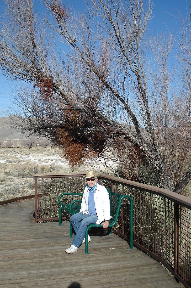 Dave on a bench in Ash Meadows