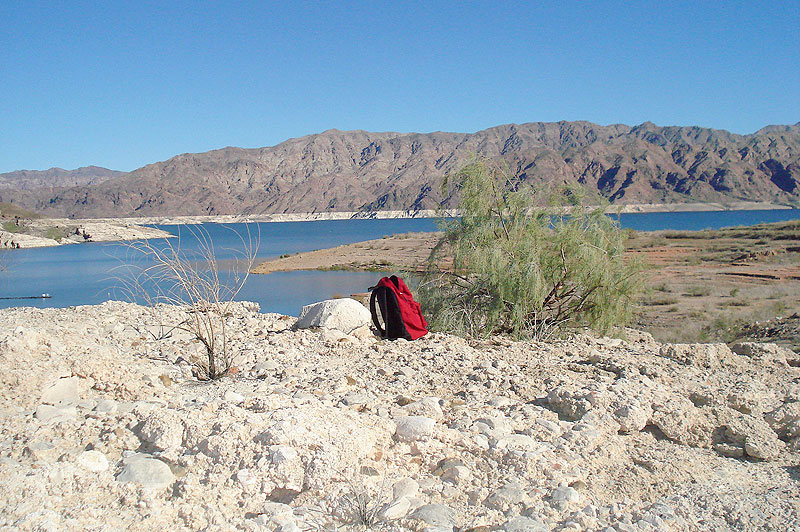 red backpack, Lake Mead